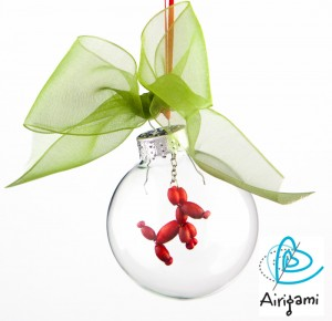 Christmas Ornament Balloon Dog Green