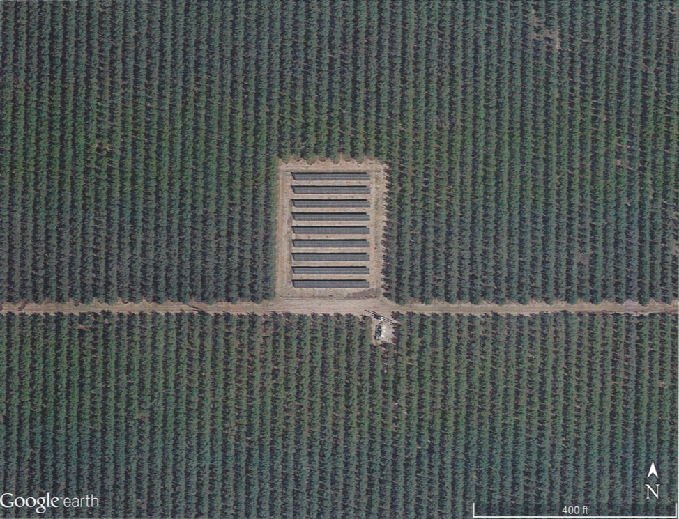 """After"" Google Earth screenshot:  Example of the finished ground-mount solar installation"