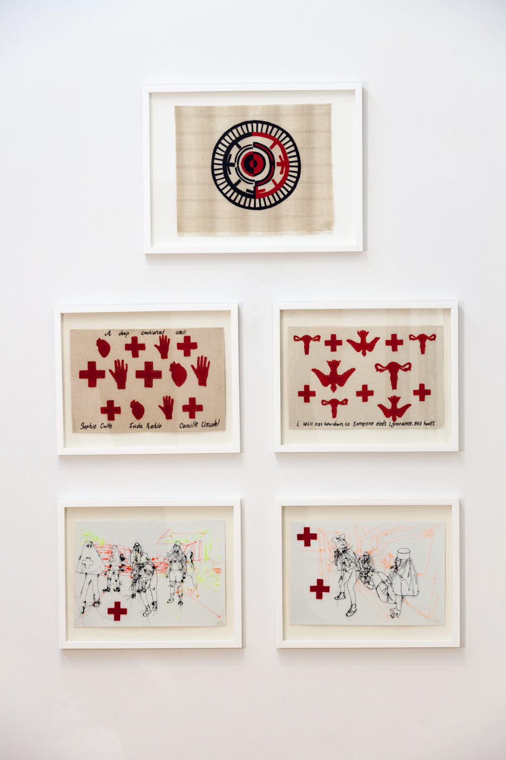 installation: Felt and thread on paper