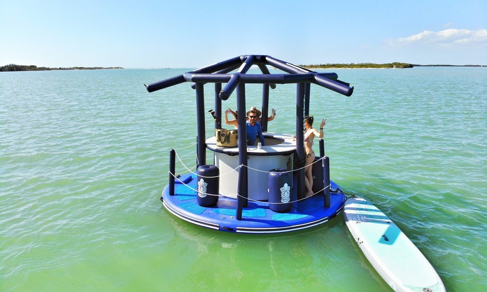 MASHOMACK ISLAND - You can rent or buy this unique floating Tiki Island Bar.