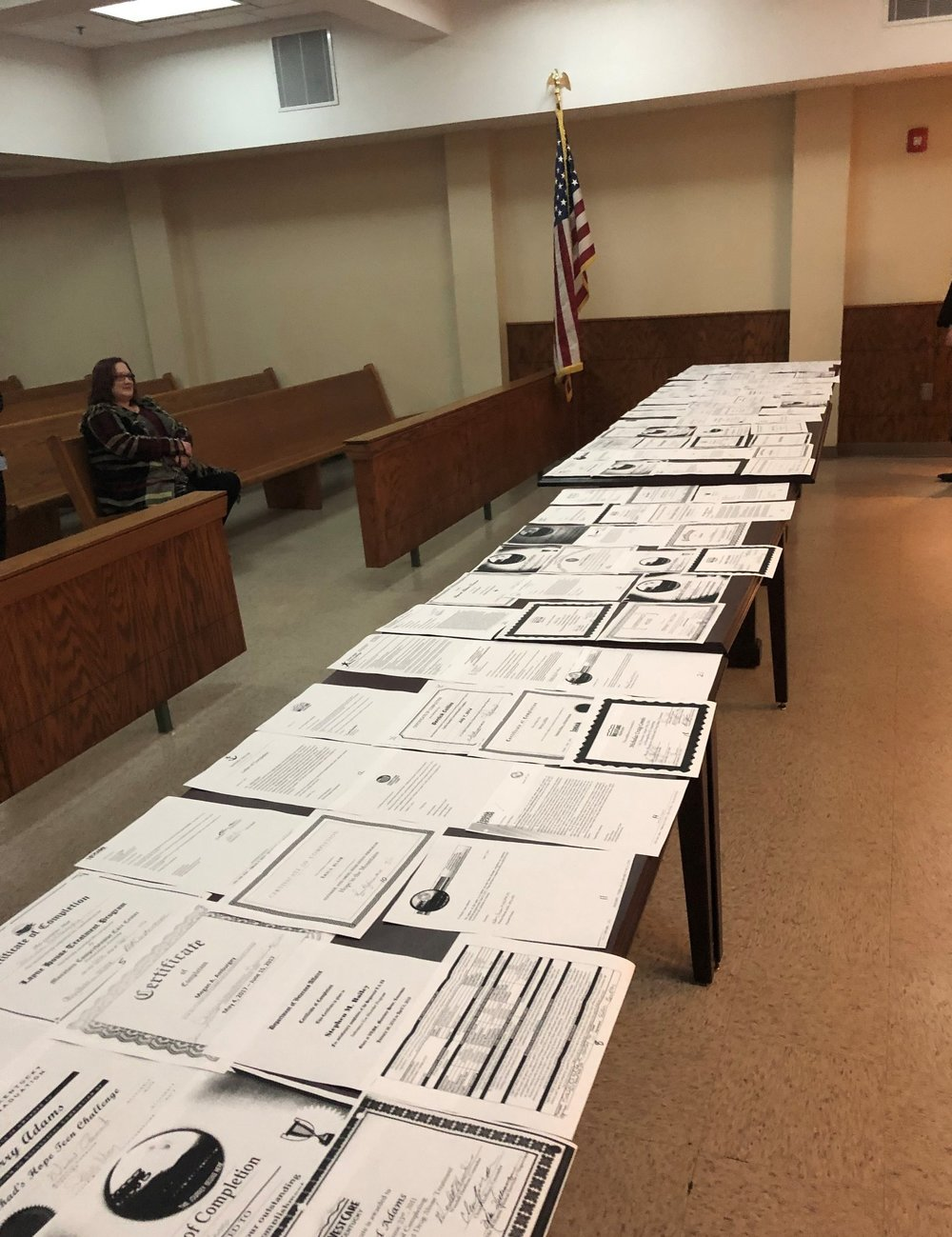 Judge Mullins keeps every certificate of completion from the people he has referred to recovery programs.