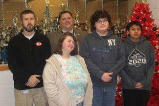 Left to right: Dr. Jeff Shannon, Floyd Co. Schools Superintendent Danny Adkins, and students Bobbie Fisher, Nathaniel Curnette & Samuel Carroll