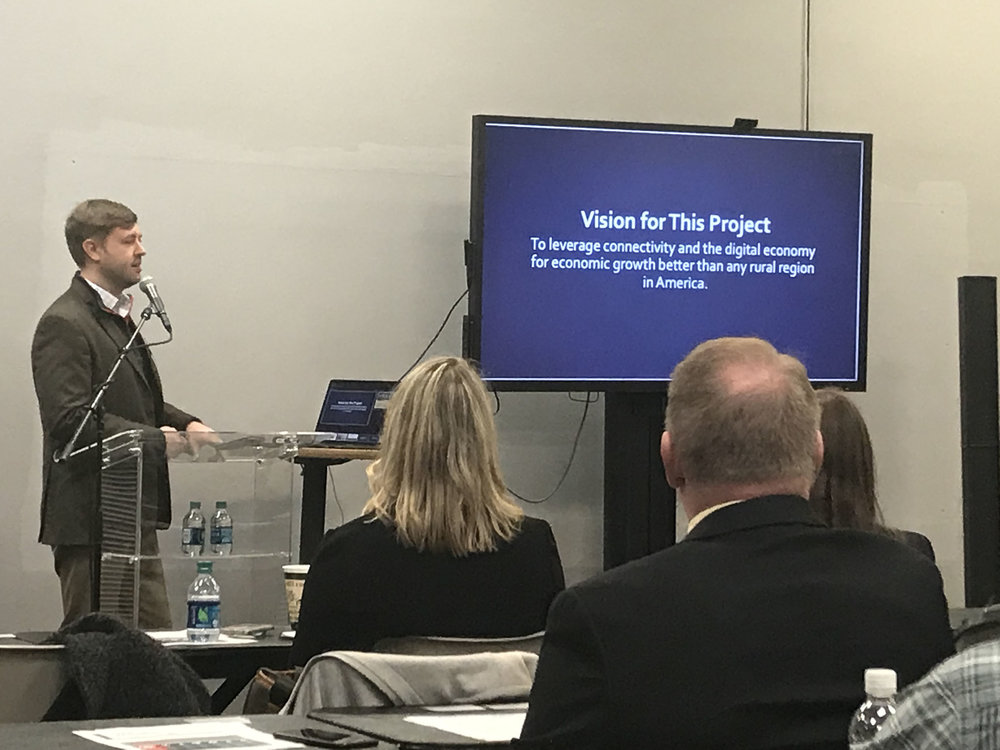 Jared Arnett, executive director of Shaping Our Appalachian Region, Inc. (SOAR), spoke at an Economic Development Workshop held by One East Kentucky on Tuesday, January 22 at the Mountain Arts Center in Prestonsburg, Ky.