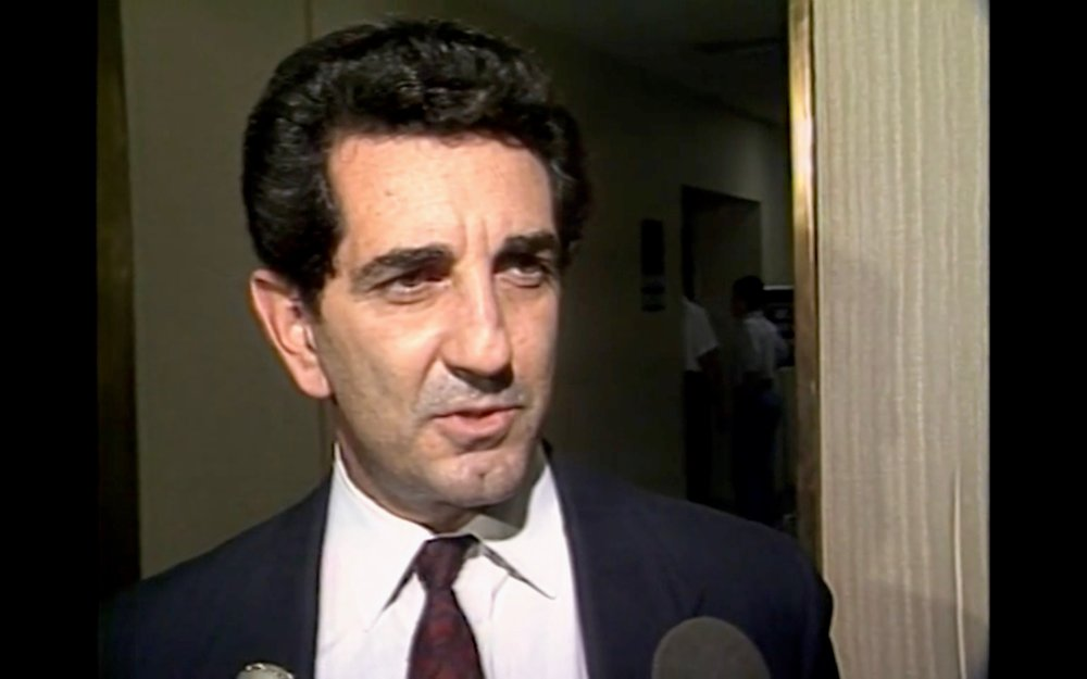 Louis Pilato in 1992 being interviewed by a local Rochester TV station about Kim's trial.