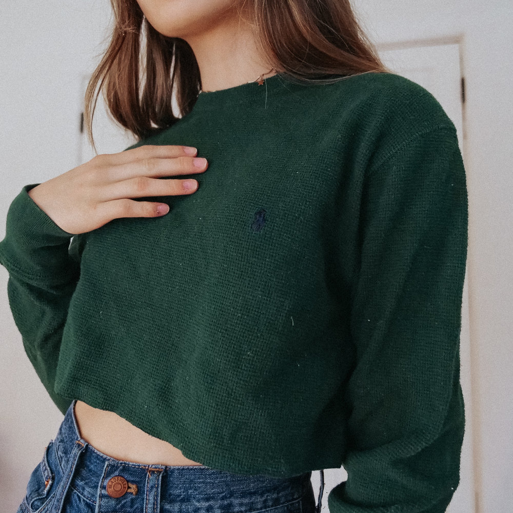 0601af64f56009 polo ralph lauren green cropped long sleeve  S  — bestdressed