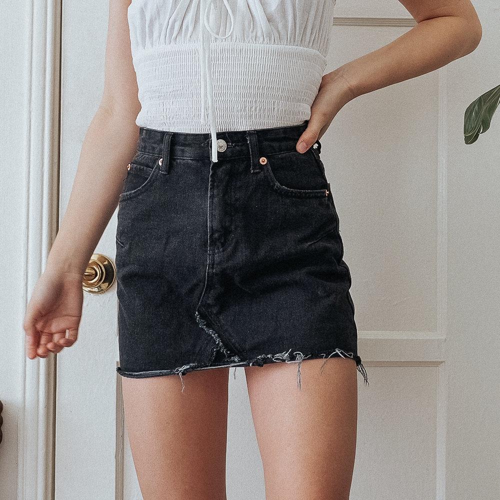 8aa434baf83 black denim mini skirt  XS  — bestdressed