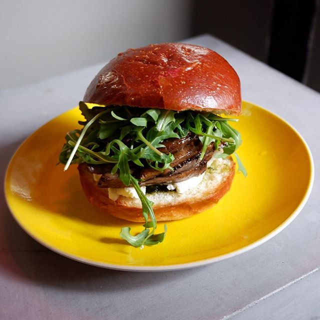 Vegetarians! Portobello Sandwich on Soft Brioche bun #vegetable#vegetarian#lunch