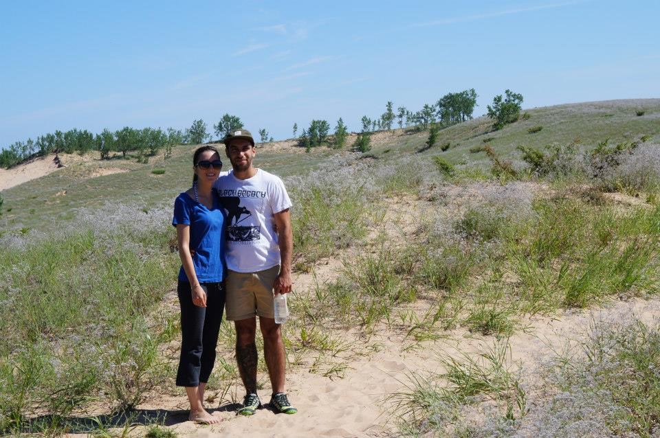 Katelyn and Marc while hiking Sleeping Bear Dunes in Northern Michigan