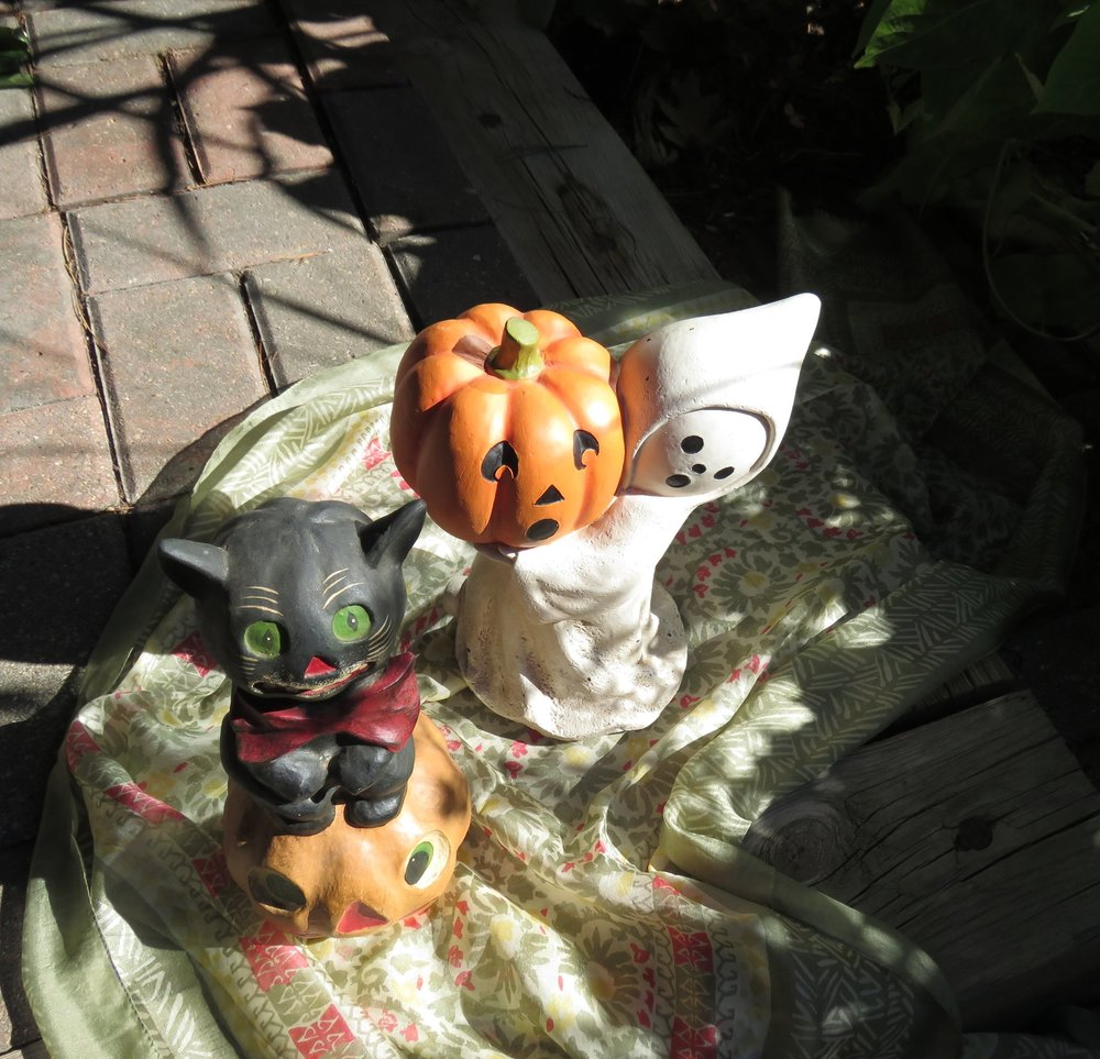 Bethany Lowe Bow Tie Black Cat - $34.95  Little Ghost with Jack O' Lantern - $27.95