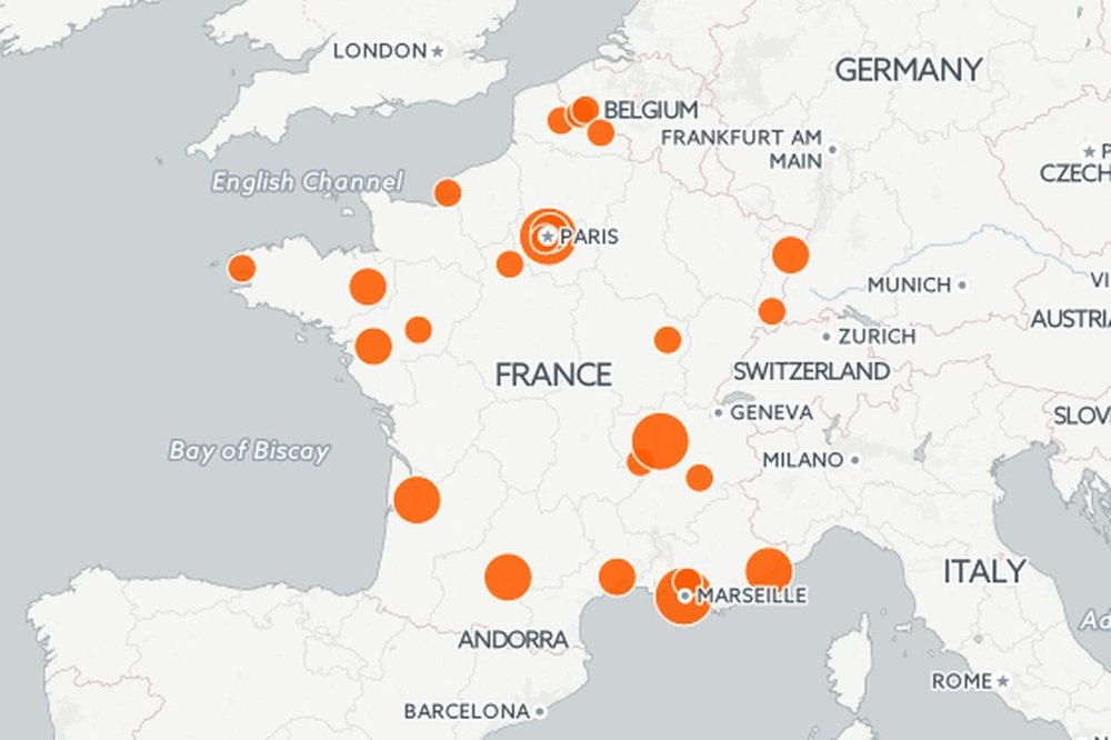 Carte des Smart Cities en France ( © MDeleneuville - Carto )