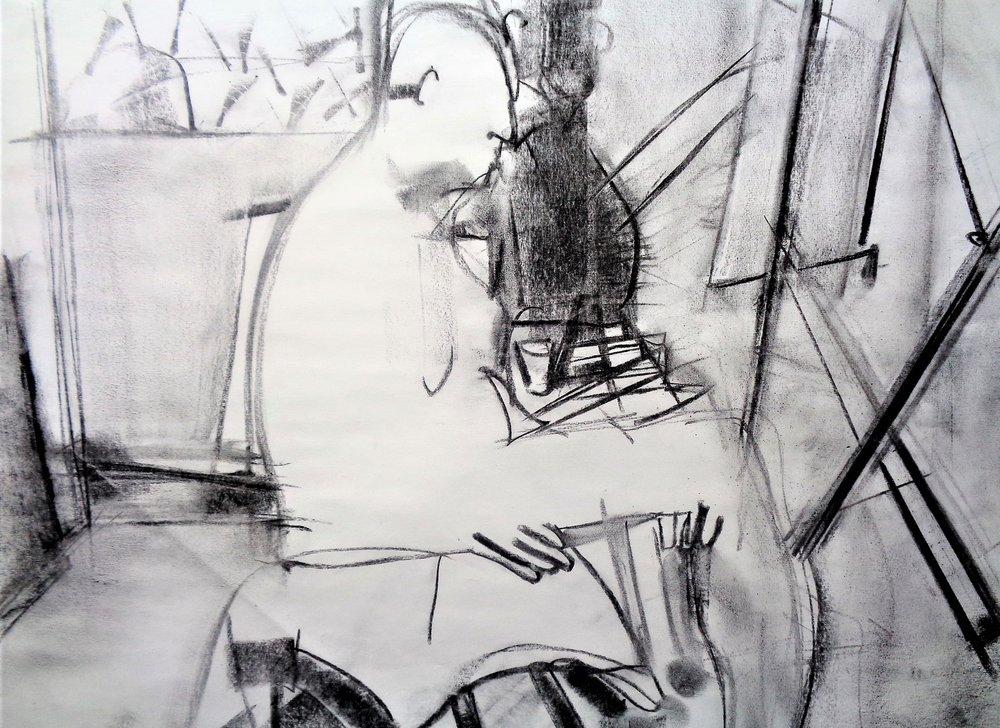 "Study #5, 2017, Charcoal on Paper, 18 x 24"""