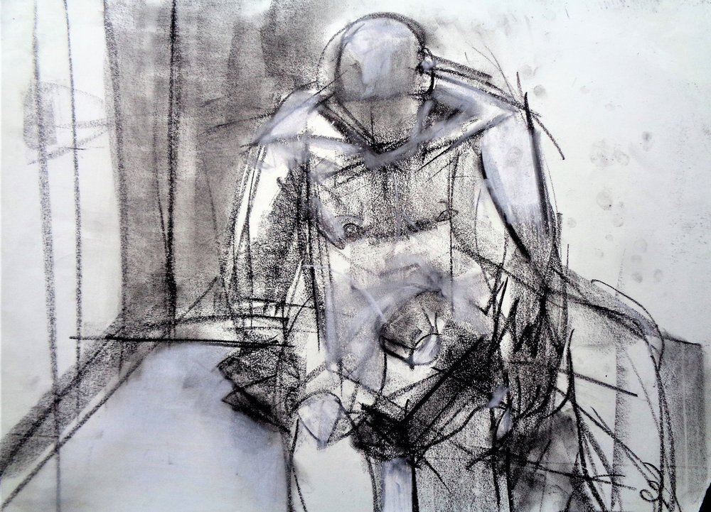 "Study #1, 2017, Charcoal on Paper, 18 x 24"""