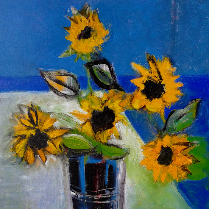 Sunflowers by the Sea, 2017, Oil on Canvas, 30 x 30 inches