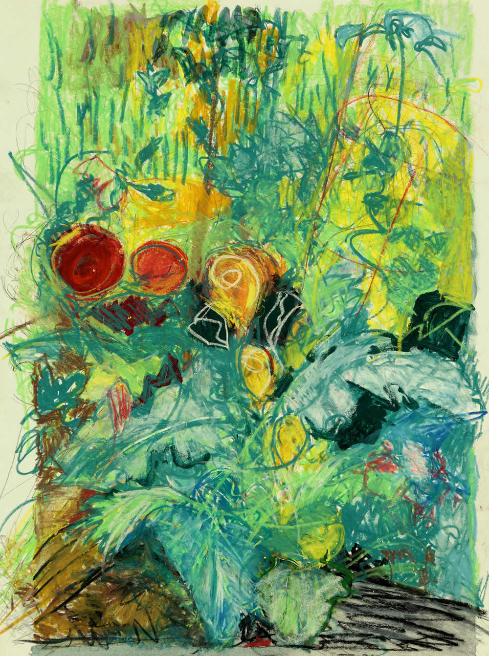 Late Summer Garden, 2015, Wax Pastel on Paper, 24 x 18 inches