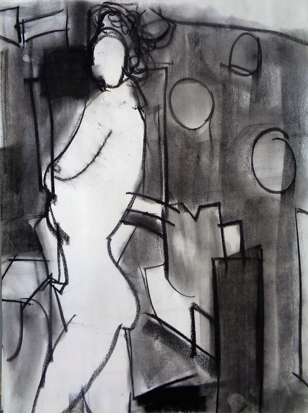 "Study #2, 2017, Charcoal on Paper, 24 x 18"""