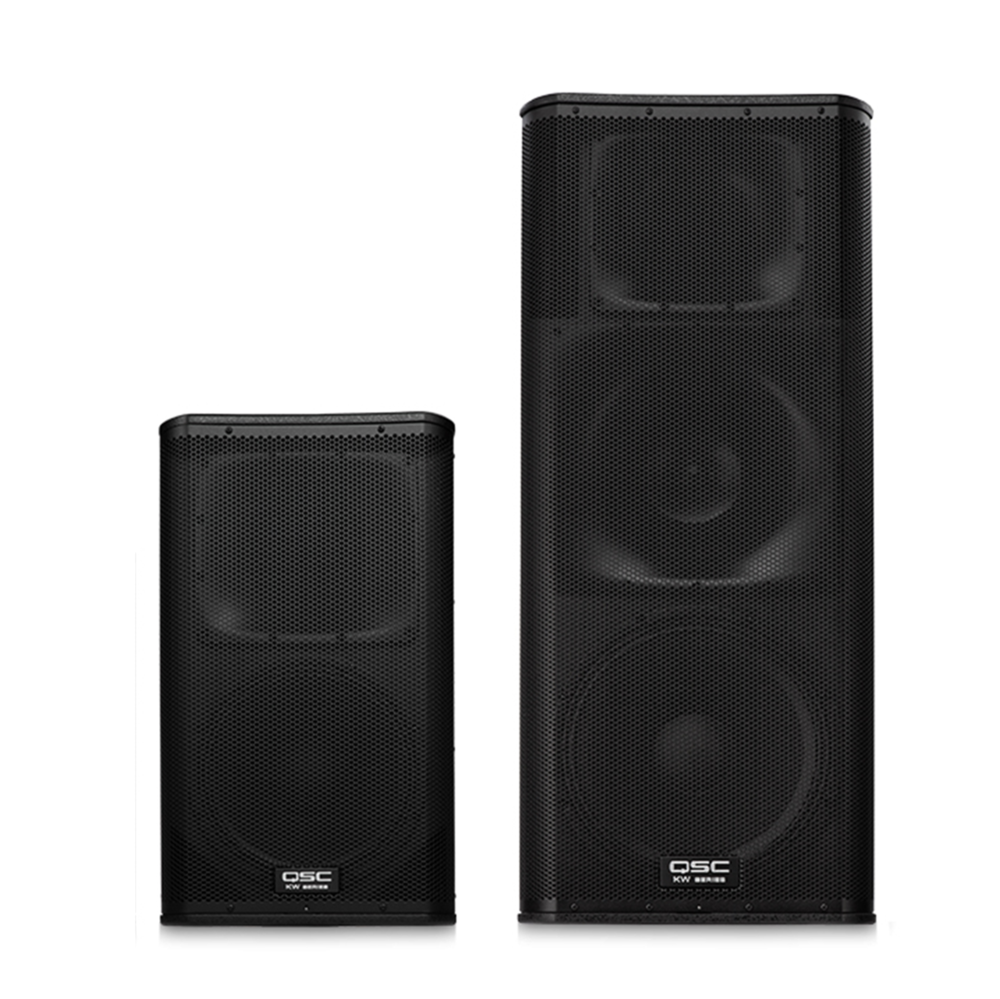 QSC KW and E series and EV EKX series speaker cabinets, and QSC GXD amplification.