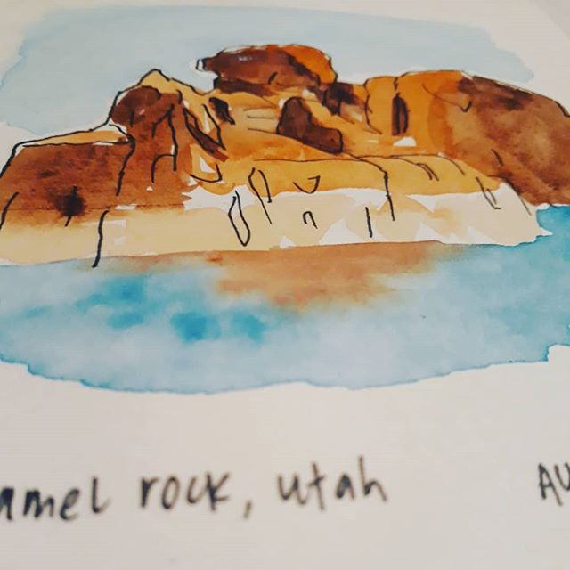 Her Good Side Camel Rock at Lake Powell #paint #watercolor #rock #sandstone #arizona #utah #butte #instaart #sketch #sketchbook #sketch_book #ink #brush #canyon #water #travelart #nationalparks #zion