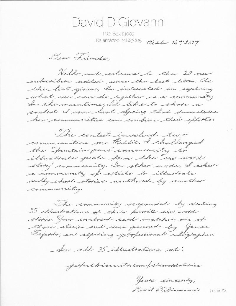 Handwritten note by Dave.
