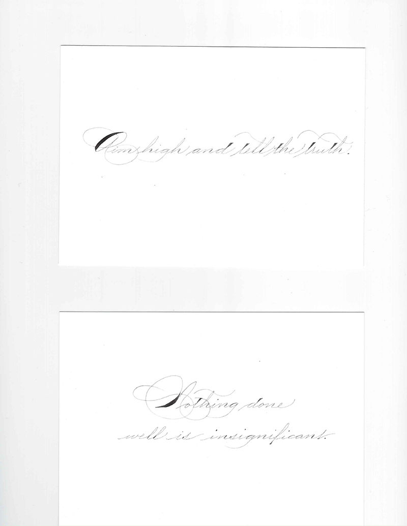 With each letter, I included a card like these pictured here. These cards were penned by Bailey Amon Rivera, a professional calligrapher. I chose the words for each card specifically for each of my subscribers.