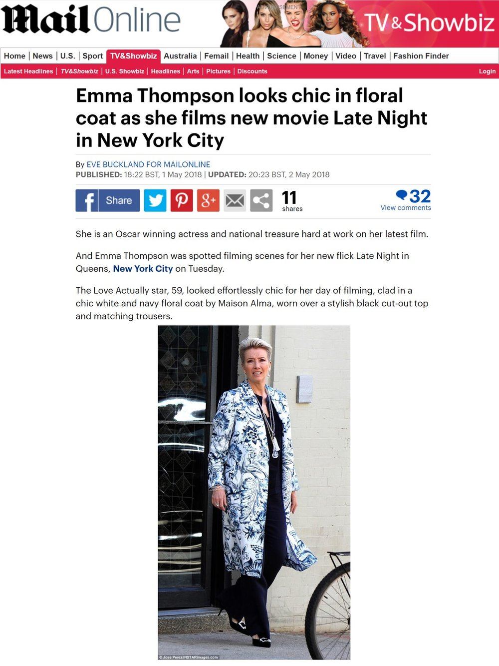 EMMA THOMPSON MAISON ALMA FLORES CATAY COAT