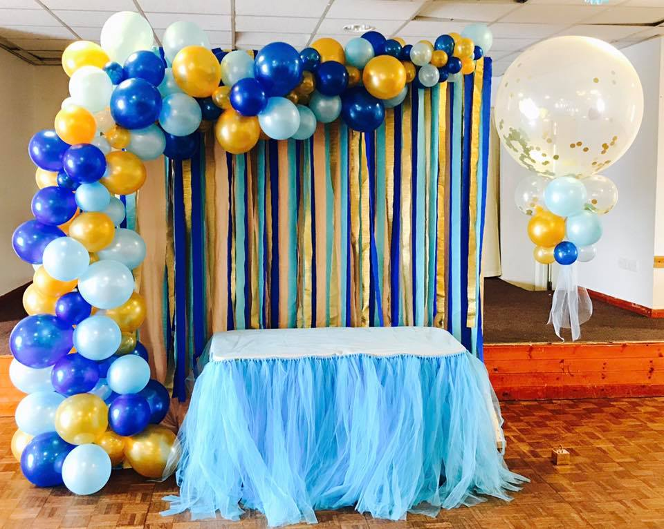 Organic Display Saapphire Blue, Pale Blue and Gold with 3ft Confetti Balloon.jpg