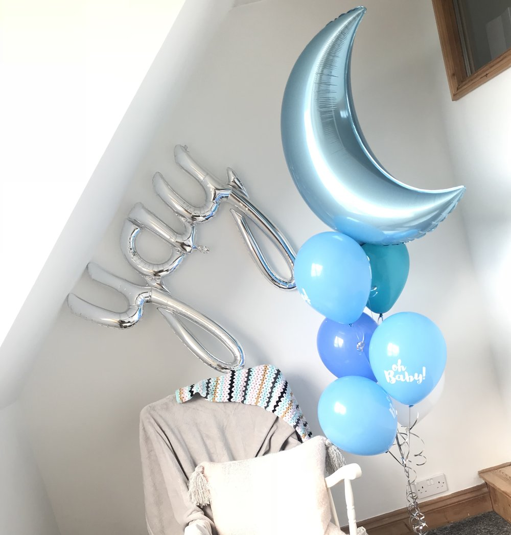 Baby Shower Package - 5 x 3 Balloon Centrepieces - Oh Baby Printed balloon1 x Giant Balloon with tassel tails1 x Personalised bubble balloon£120.00*delivery charges may apply
