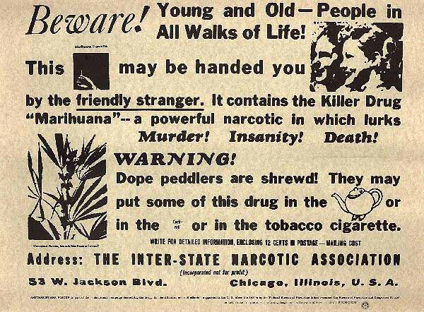 An advertisement distributed by the Federal Bureau of Narcotics in 1935