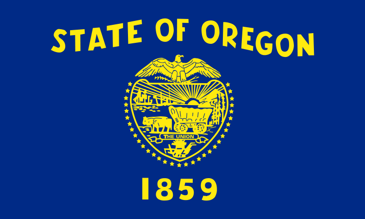 Flag of Oregon, the state voting on cannabis legalization, medical marijuana