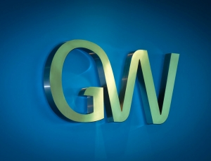 GW Pharmaceuticals Logo Icon Blue and Grey