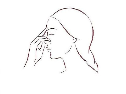 Face fingers to bridge of nose
