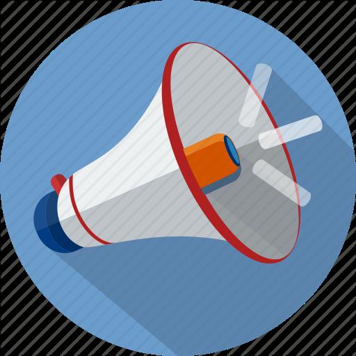 White megaphone red trim blue circle