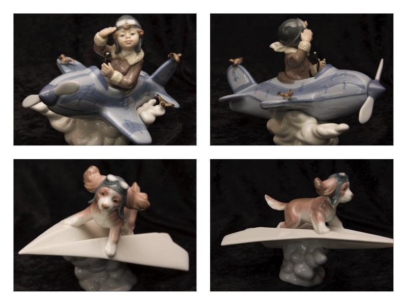 Lladro Dog and Pilot Figurines