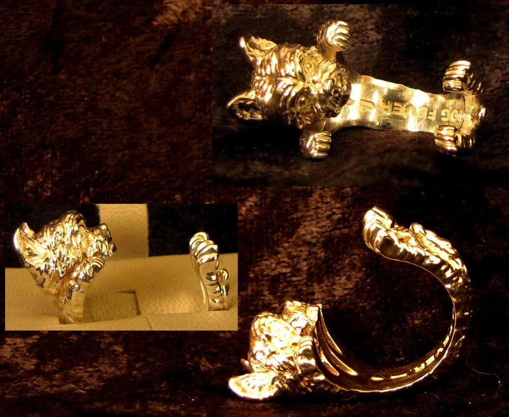 Dog Fever Sterling Silver Yorkshire Terrier Hug Ring