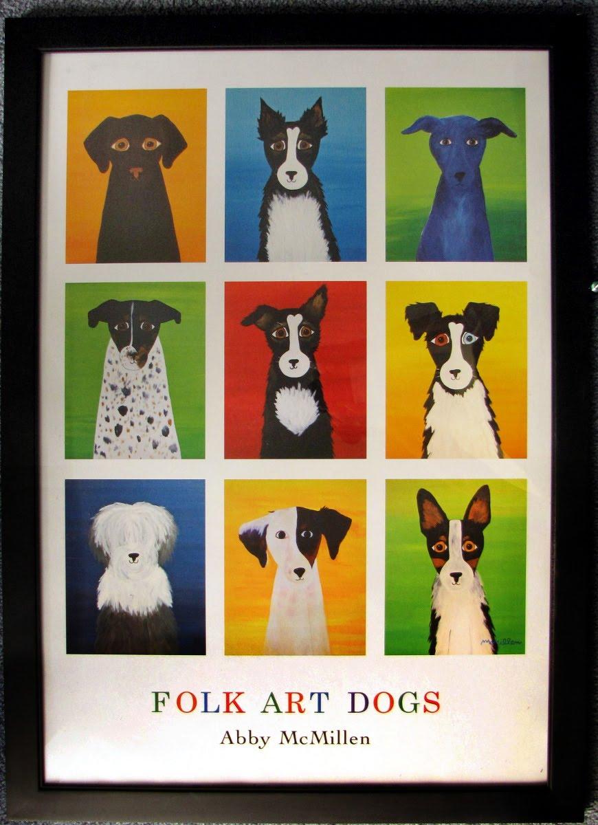 Folk Art Dogs Framed Poster