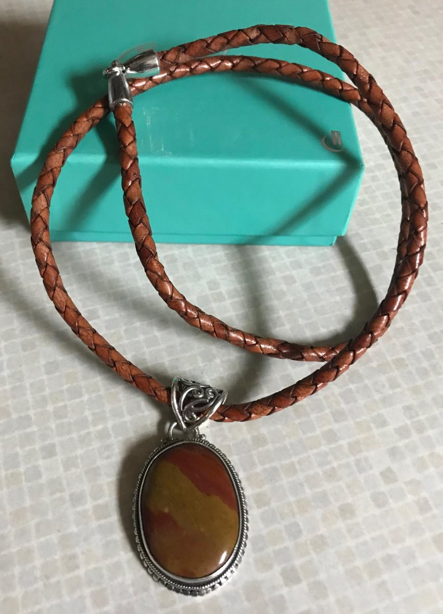 Jasper Cabochon & Sterling Pendant on Braided Leather Necklace