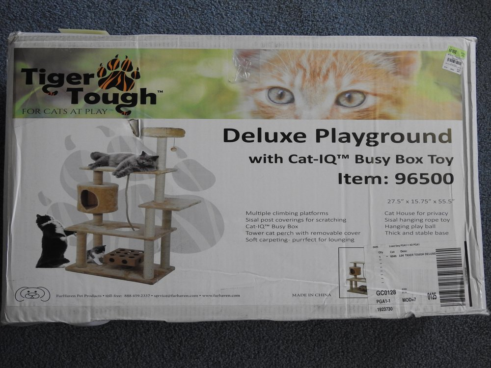 Tiger Tough Cat Tree Deluxe Playground with cat-IQ Busy Box Toy