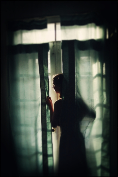 The same photograph of a shadowed woman looking out a window was sold online for three different book covers.