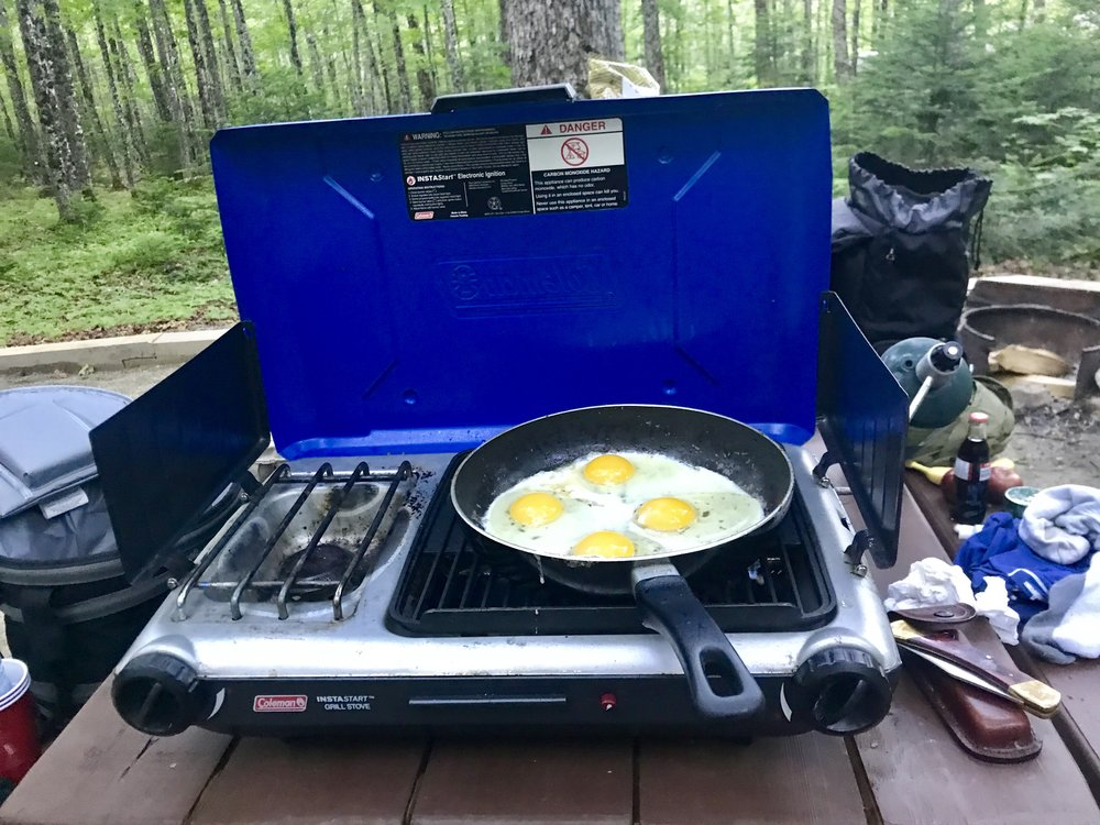 making some breakfast on our coleman propane grill