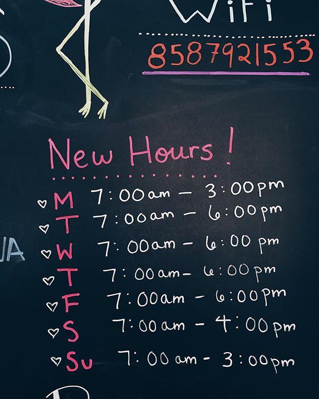 We've got new hours!
