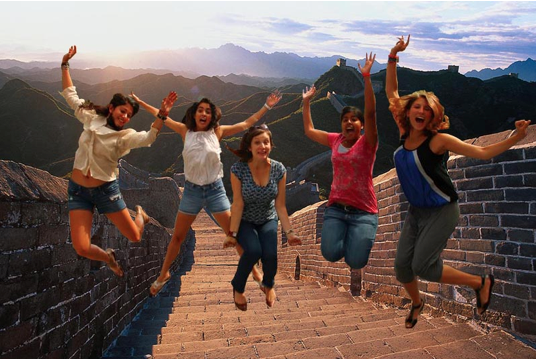 Ahh, I love this! These girls are having a great time in China and you can tell. I can't believe how good Marisa looks even though she is jumping.