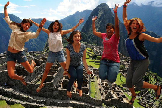 Wow, and can I just say, wow? These brave girls went all the way to Peru—just look at this picture! They really timed it perfectly. You can see that Becky is just a little lower than everyone else but in my opinion that gives the picture a lot more dimension. Be careful girls and have fun!