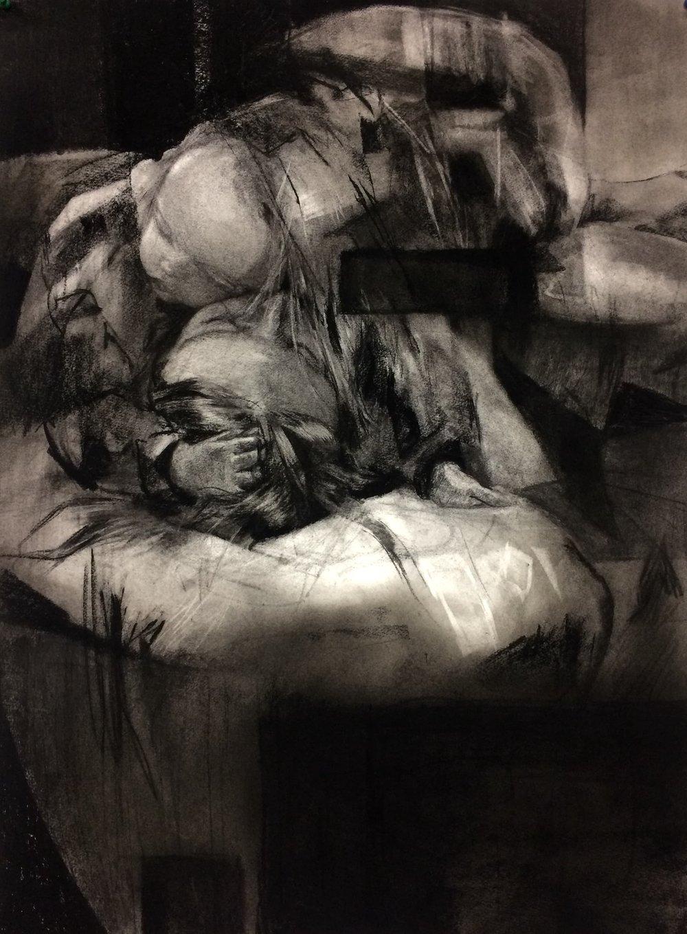 Broken night, charcoal on paper, 56 x 76cm