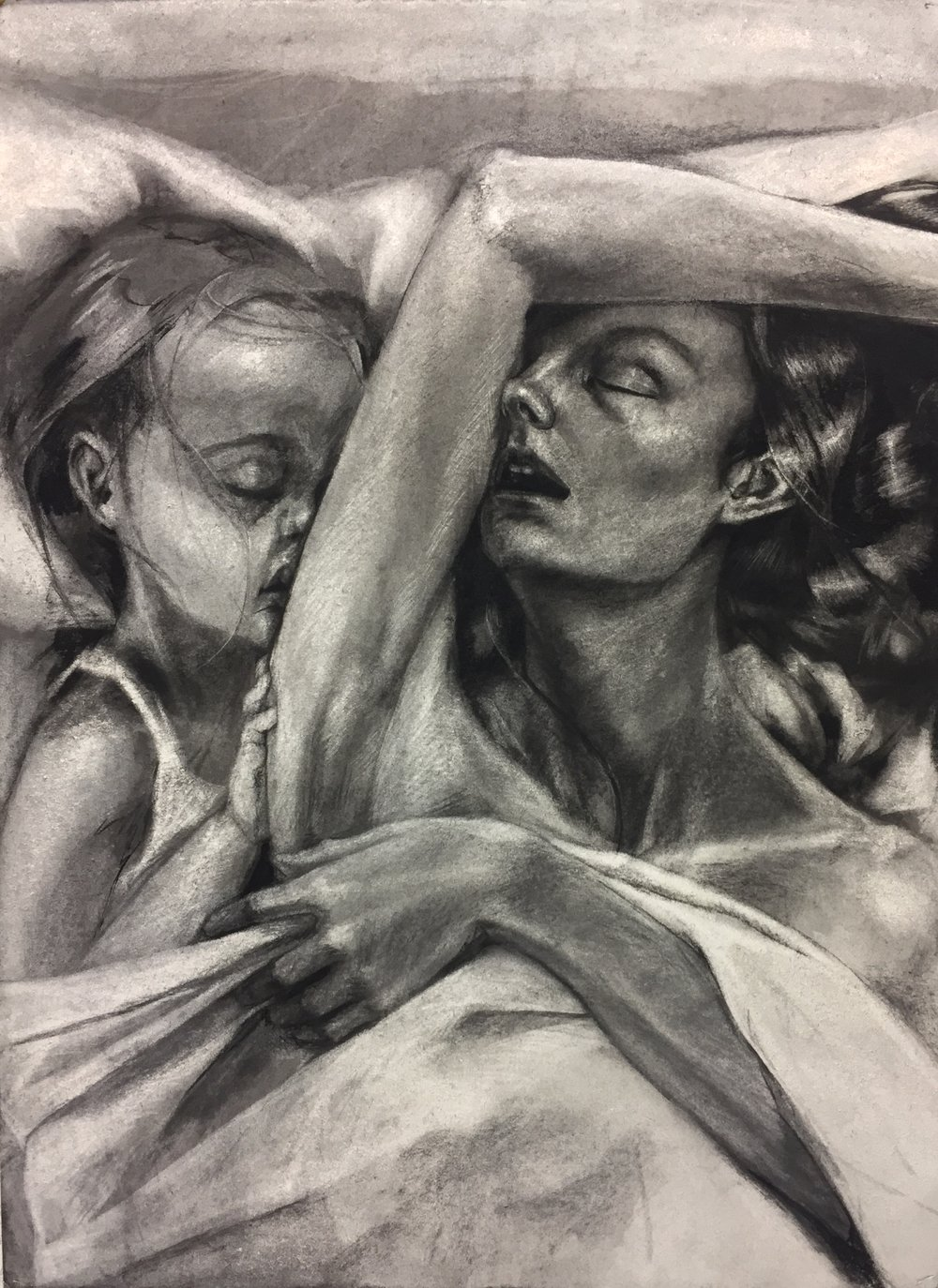 Personal Space, Charcoal on paper, 56 x 76cm