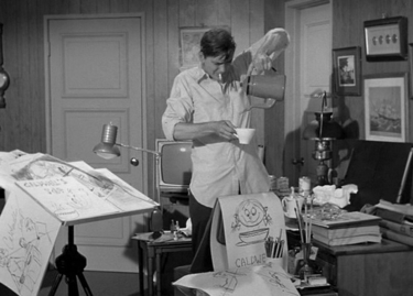 The fictional Darrin Stevens burns the midnight oil doing ad stuff on Bewitched.