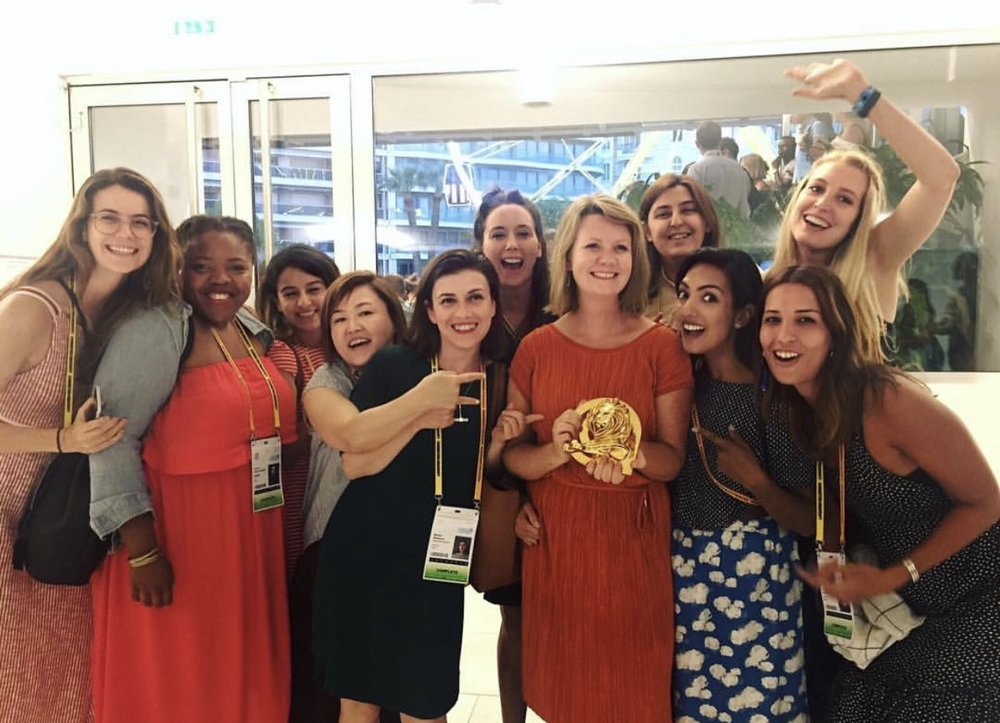 Working hard for her money: Shannon receiving one of 6 gold (22 total) lions for Snickers Hungerithm in 2017. Picture taken in Cannes with fellow See It Be It delegates.