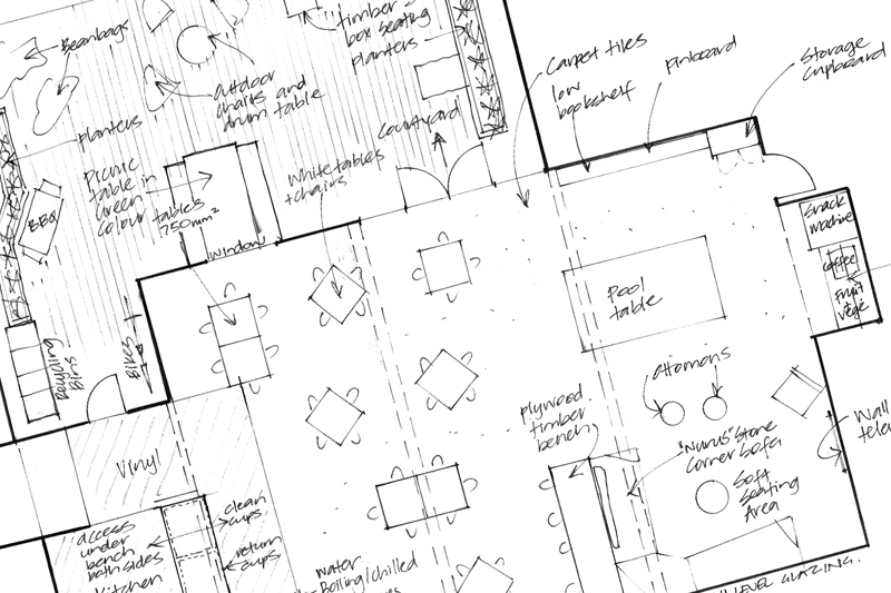 space planning   We explore how to make the best use of your space by preparing a series of layout options... We look at where walls and services should go, how to utilise open plan areas, and the best way to arrange furniture.