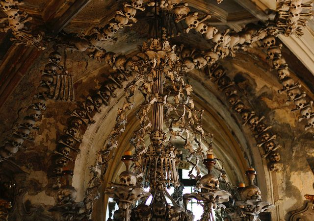 One of the chandelier of bones in the Sedlec Ossuary.