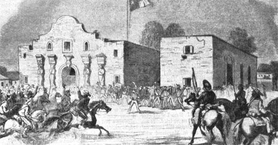 A depiction of the battle of the Alamo.
