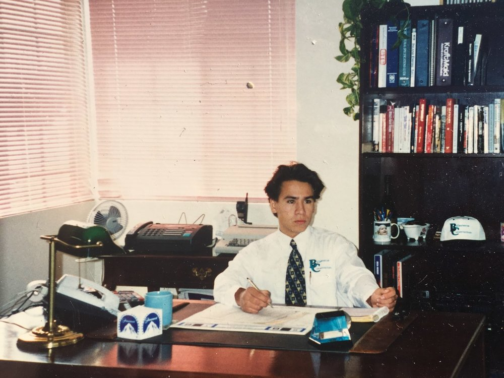 Omar Ballesteros in the office in the early 90's.