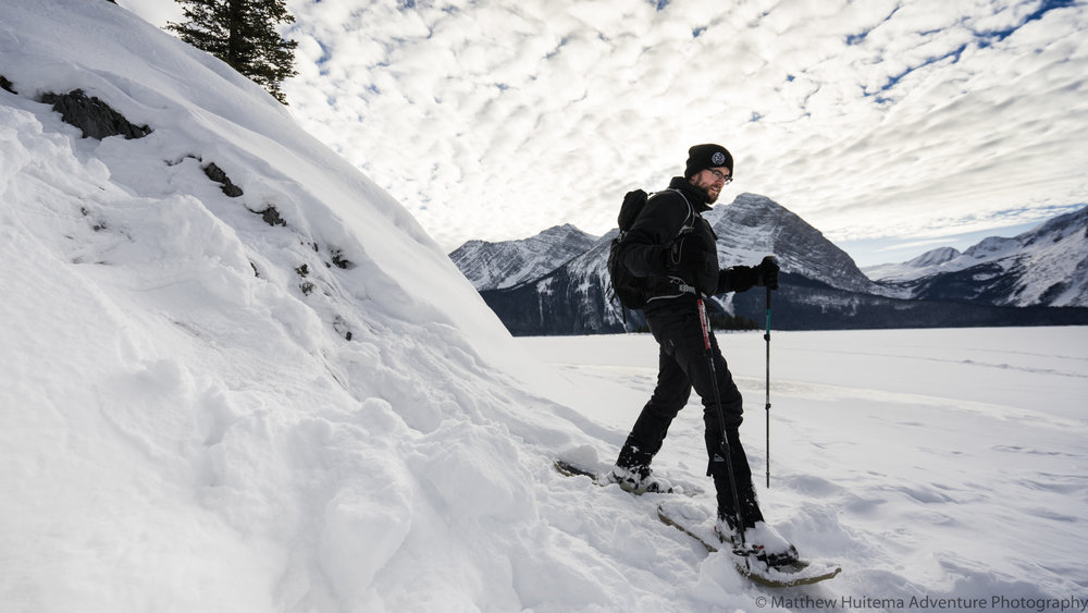 Snowshoeing on Upper Kananaskis Lake
